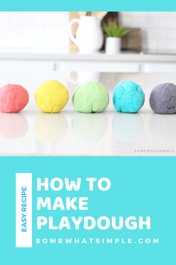 This is hands-down the best homemade playdough recipe I've ever made!!!  This easy play-doh recipe turns out super soft and is simple to mold and will provide hours of fun! You're kids are going to love this! #homemadeplaydough #easyplaydoughrecipe #howtomakeplaydough #playdoh #diyplaydoughrecipe via @somewhatsimple