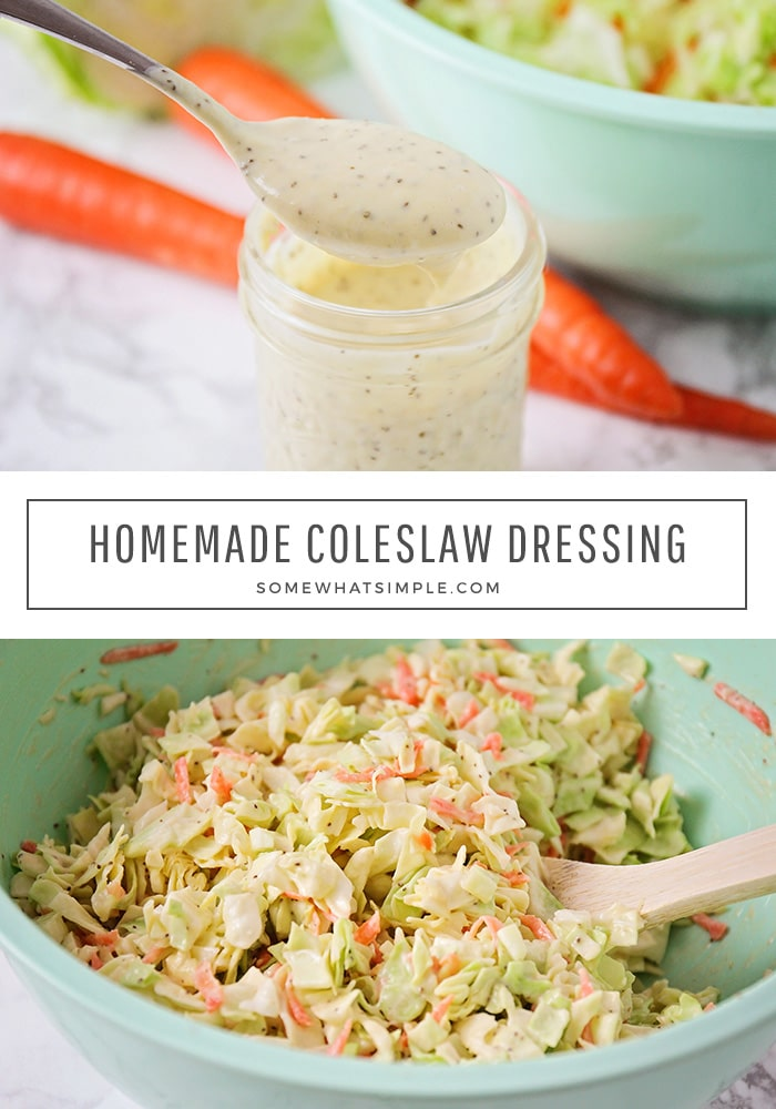 This flavorful coleslaw dressing will take your homemade coleslaw to the next level! Made with just a few easy ingredients, it's easy to put together and it tastes AMAZING! #coleslawdressingvinegar #bestcoleslawdressing #coleslawdressing #homemadecoleslawdressing #coleslawdressingrecipe via @somewhatsimple