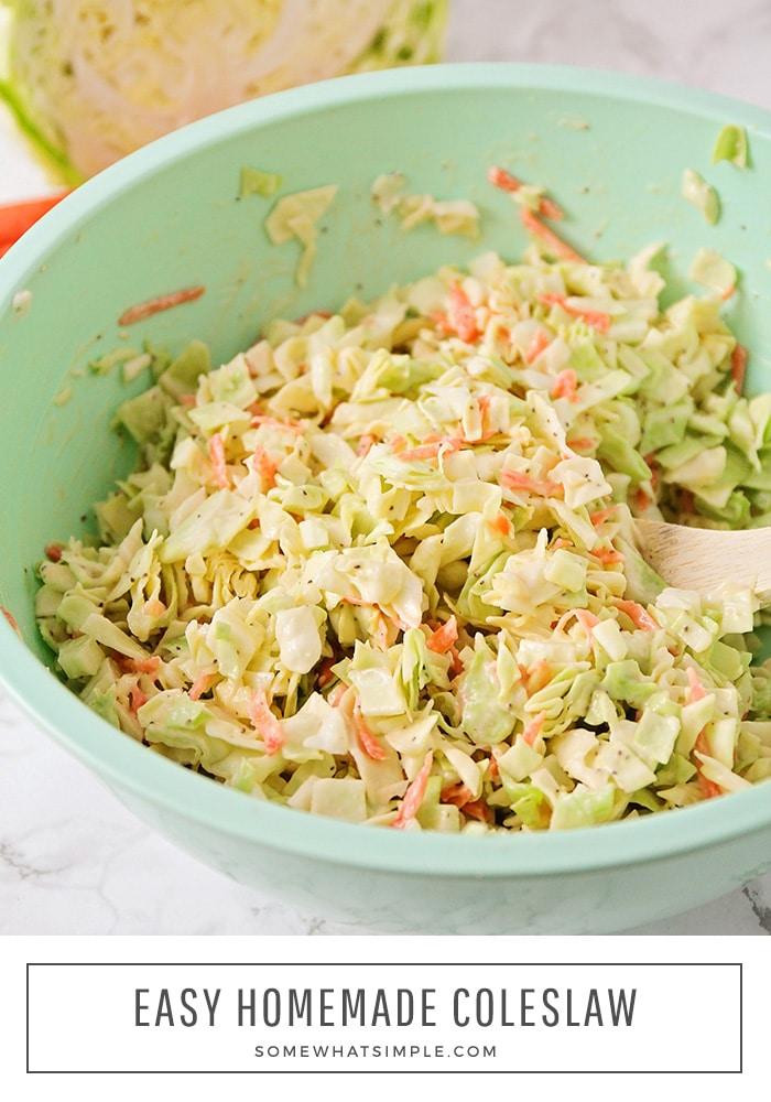 a light blue bowl full of homemade coleslaw using this easy recipe