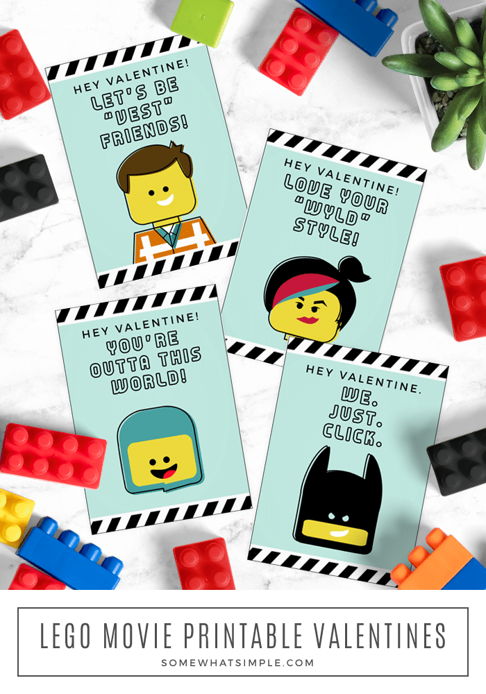 Love the Lego movies? Then you'll LOVE these adorable Lego Valentine Cards!! #legos #legomovies #legovalentines #valentinesday via @somewhatsimple