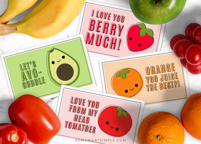 graphic regarding Printable Fruit and Vegetables called Uncomplicated Fruit Pun Printable Playing cards - Considerably Basic