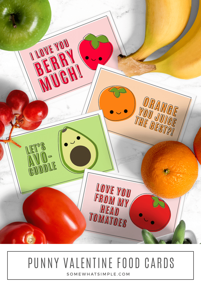 Valentine's Day (or any day of the week!) just got a whole lot cuter with these darling Fruit Pun Cards! #printable #cards #valentines #fruit #puns via @somewhatsimple