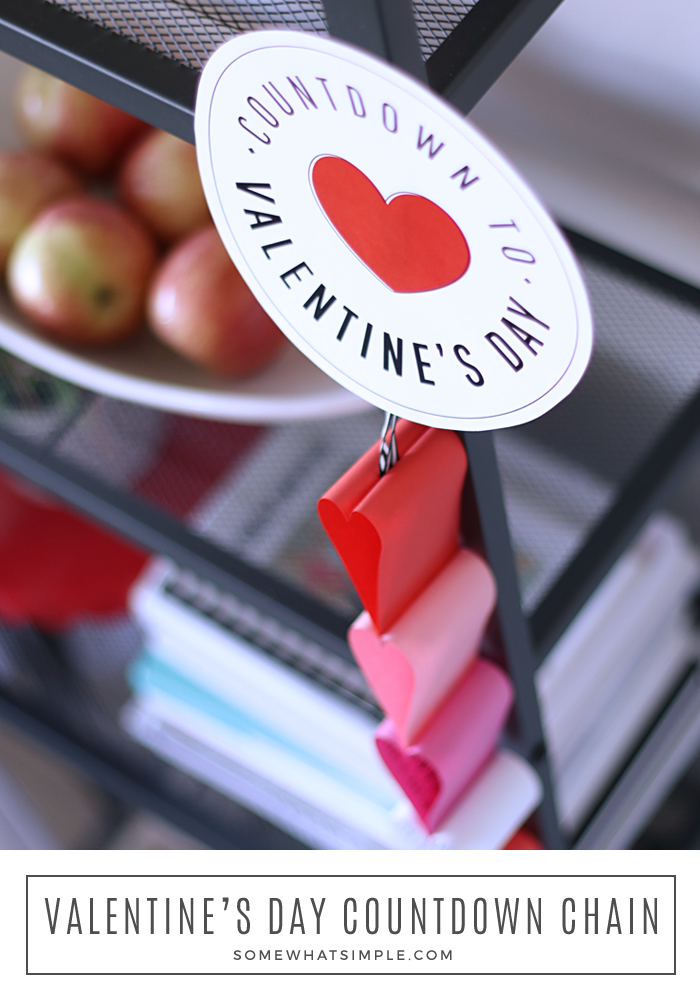 Valentine's Day countdown chain printables