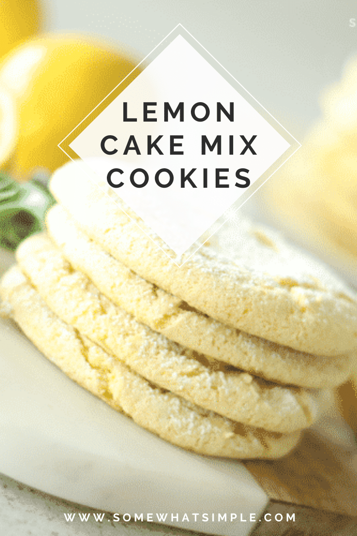 Lemon cake mix cookies are soft and chewy and only take 3 ingredients to make!  Not only do they taste amazing but they are simple to make. #cakemixcookies #lemoncakemixcookies #lemoncakemixcookieswithcoolwhip #duncanhineslemoncakemixcookies #3ingredientlemoncakemixcookies via @somewhatsimple