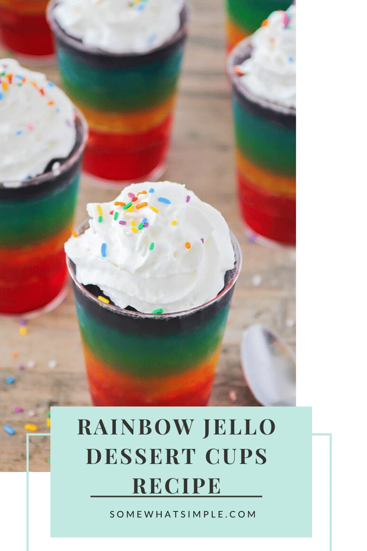 Rainbow jello is a delicious treat your kids will love! They are a perfect way to celebrate St. Patrick's Day or just a colorful snack to enjoy after school. These layered rainbow jello cups are fun to make and even more fun to eat ! #rainbowjello #stpatricksdessert #rainbowjellorecipe #rainbowjellocups #howtomakerainbowjello via @somewhatsimple