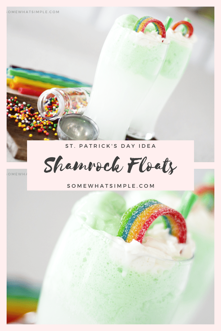 Shamrock floats are a fun and festive St. Patrick's Day drink recipe that everyone can enjoy. It's easy to prepare, so you can make it at home or for a school party. Filled with green sherbet, lemon lime soda and a special ingredient, you have to try this delicious green St. Patrick's Day drink. via @somewhatsimple