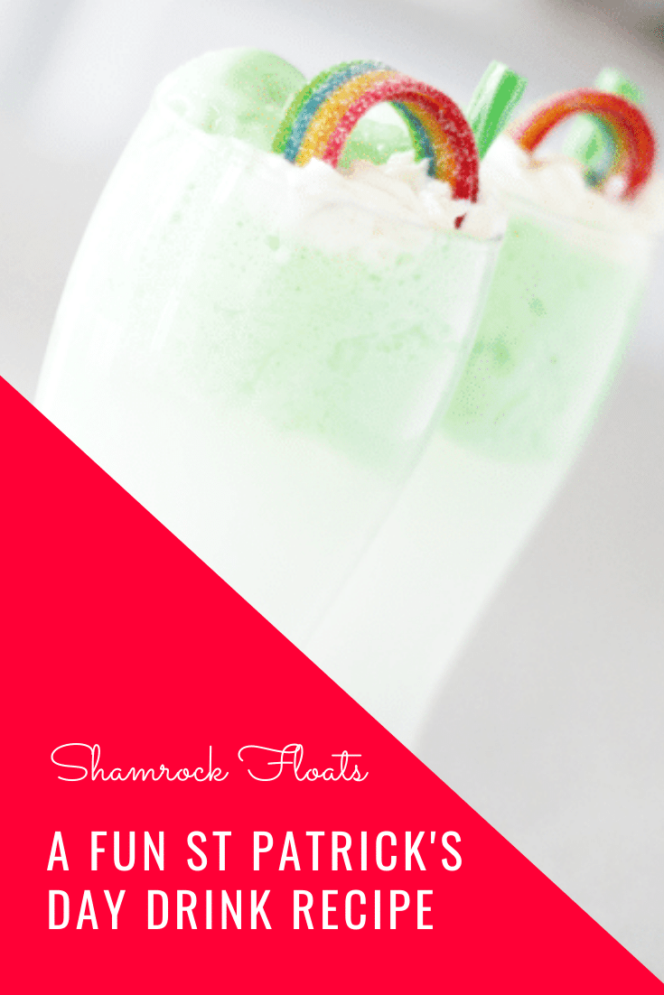 Shamrock floats are a fun and festive St. Patrick's Day drink recipe that everyone can enjoy. It's easy to prepare, so you can make it at home or for a school party. Filled with green sherbet, lemon lime soda and a special ingredient, you have to try this delicious green St. Patrick's Day drink. #greenstpatricksdaydrink #stpatricksdaydrink #stpatricksdaydrinkrecipe #festivestpatricksdaydrink #shamrockfloats via @somewhatsimple