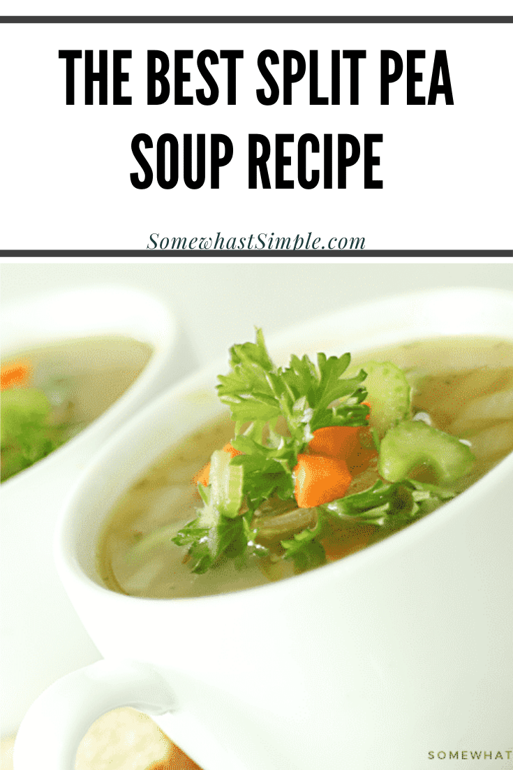 Split pea soup is a hearty recipe that's incredibly easy to make. Pea soup is one of my favorite recipes to make using leftover ham. Filled with split peas, ham, spices and other healthy vegetables, this classic soup is the perfect comfort food. Plus, I'm going to show you how to make it on the stove top as well as in a crock pot. It doesn't get any easier than this! via @somewhatsimple