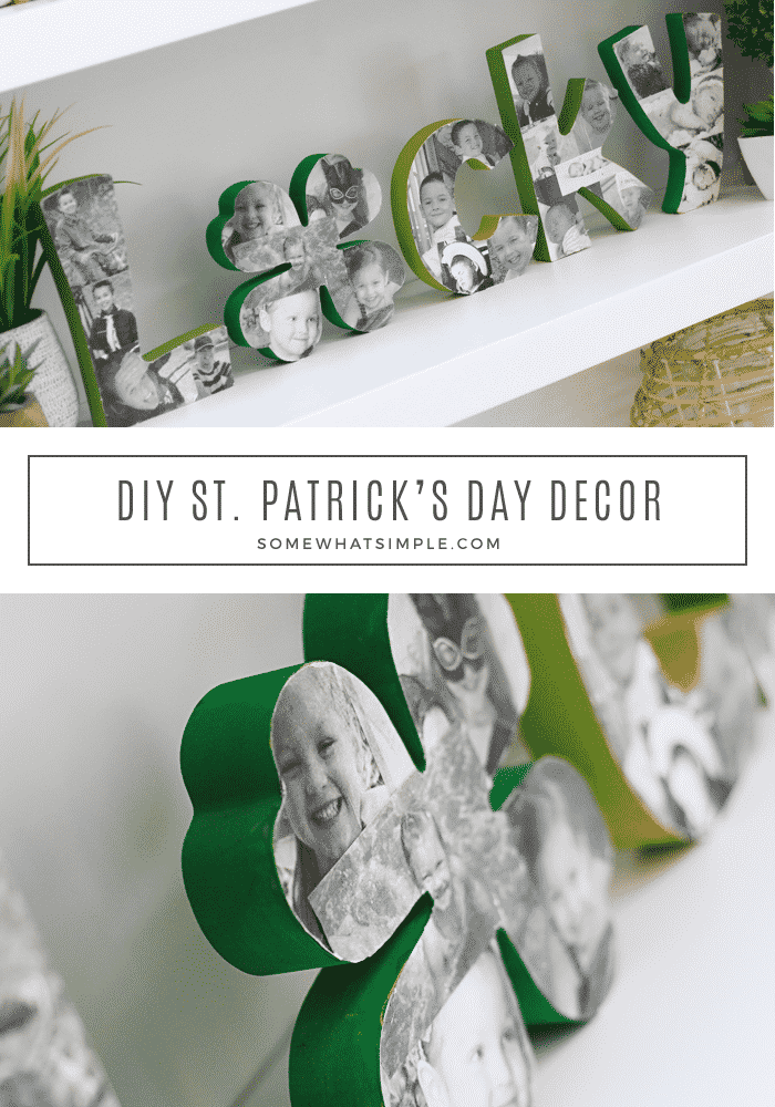 Easy holiday decor is kind of our jam around here! Celebrate March 17 by making this easy St. Patrick's Day Decoration for your home! #StPatricksCraft #StPatricksDay #StPatricksDecor via @somewhatsimple