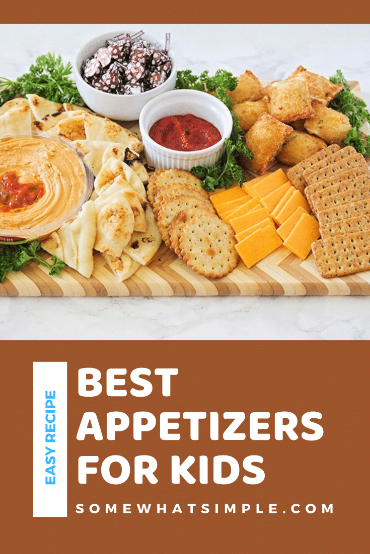 This delicious and easy to assemble appetizer board is packed full of the best appetizersfor kids! These appetizers are perfect to serve during the holidays or for the big game. You're guaranteed to win over even the pickiest of eaters at your next party! via @somewhatsimple