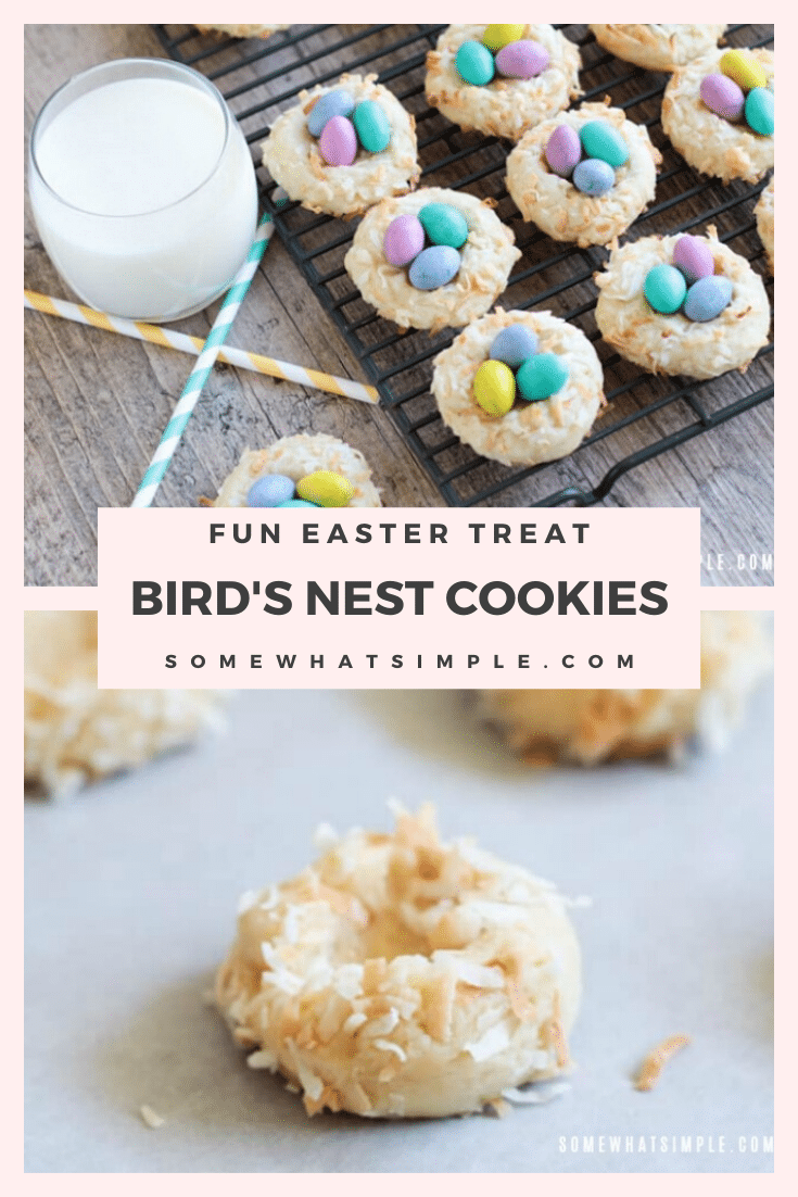 Birds Nest Cookies are completely adorable, and they are super delicious and easy to make! These cookies are perfect to make to celebrate spring and the Easter season. #birdsnestcookies #eastercookies #birdnestcookierecipe #birdsnesteastercookies #coconutbirdsnestcookies via @somewhatsimple