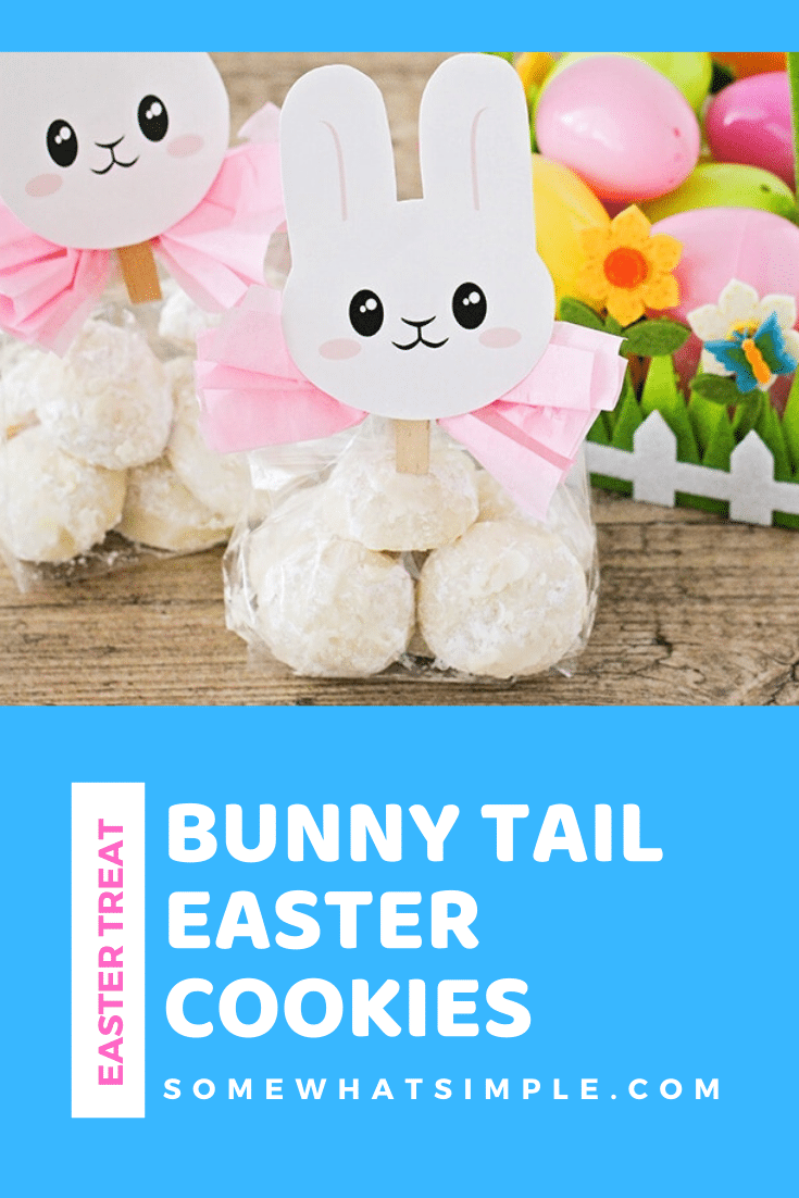 Bunny Tail Cookies are a delicious Easter treat that are incredibly easy to make and they use only 6 ingredients! These cookies are a delicious treat to serve during the holiday and can also be an adorable Easter gift idea. #cookies #easterdessert #bunntailcookies #easycookies #eastertreats #eastergiftidea via @somewhatsimple