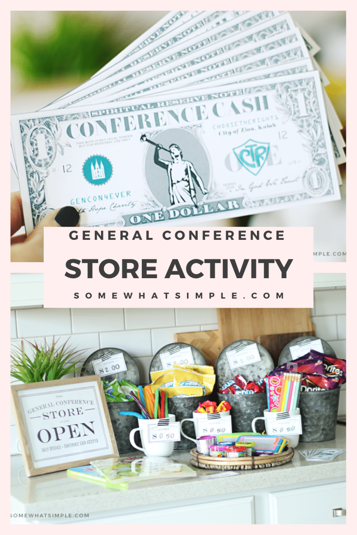 Looking for fun general conference activities for your kids to enjoy? This Conference Cash idea is my kids very favorite! Grab your free printable conference cash and set up a fun little general store. They earn cash for listening and other activities you choose and then they can buy things they want from the store. It's a great way for kids to enjoy conference. via @somewhatsimple