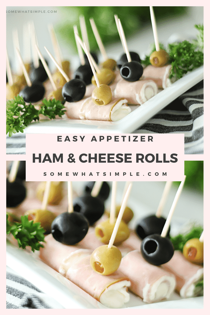 Looking for some easy appetizers for your next social gathering? These ham and cream cheese roll ups will be the first empty platter at the party!  This simple appetizer is easy to make and take only minutes to assemble. I promise you're going to love them! via @somewhatsimple