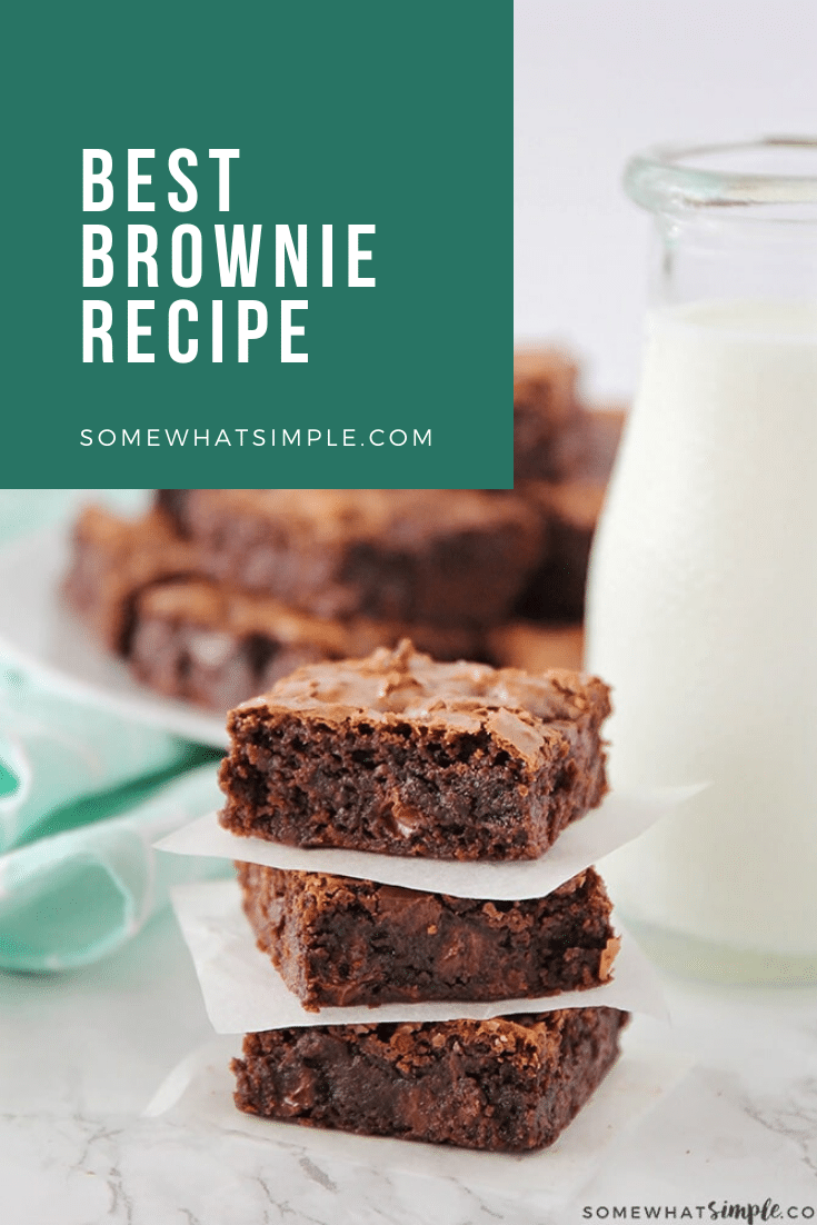 I spent several years in search of the best homemade brownie recipe. My search is over, this is it. These homemade brownies are not only decadent and delicious, they are also super simple to make!  #homemadebrowniesfromscratch #easyhomemadebrownies #brownierecipe #homemadebrowniesrecipe #easybrowniesfromscratch via @somewhatsimple