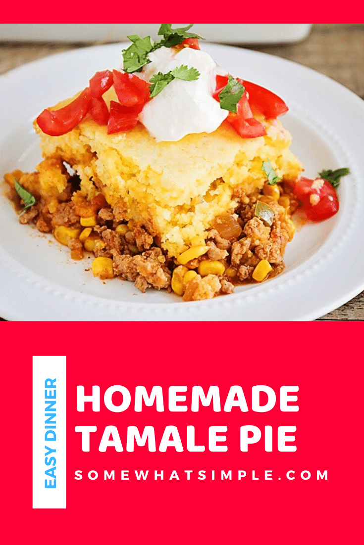 This Tamale Pie Recipe is so simple to make and is so delicious! I LOVE tamales but I don't love the time it takes to make them. Loaded with the mouthwatering combination of beef, cornbread, salsa, corn and cheese, this tamale pie recipe has all of the deliciousness of tamales without having to spend all day in the kitchen. #cornbreadtamalepie #tamalepierecipe #tamalepie #tamalepiecasserole #tamalepiejiffy via @somewhatsimple