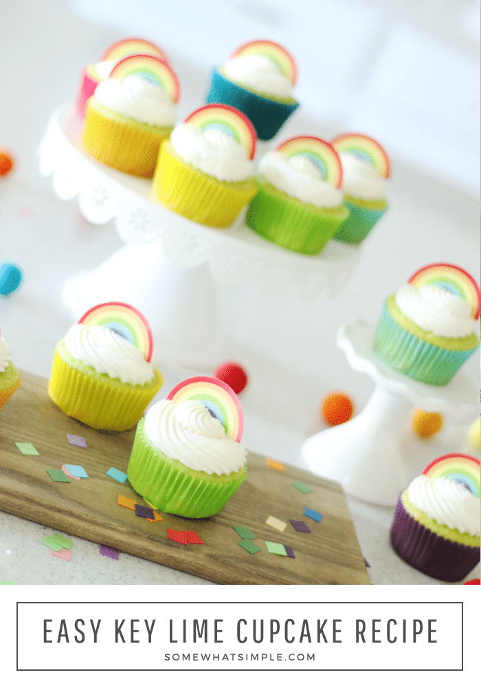 Key lime cupcakes are the perfect blend of both sweet and sour flavors.  The cupcakes are moist, easy to make and bursting with flavor! Topped with these adorable free printable rainbow cupcake toppers they are the perfect way to celebrate St. Patrick's' Day.   #limecupcakes #keylimecupcakes #limecupcakerecipe #stpatricksdayfood #keylimecupcakerecipe via @somewhatsimple