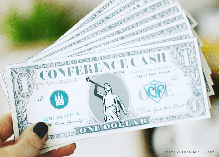 Download this free Conference Cash for your next General Conference Activities for Kids