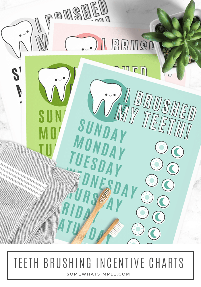 a printable chart with each day of the week on it that can be used to reward your children for cleaning their teeth each day.