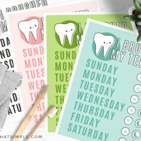 different colored pages from this tooth brushing chart free printable