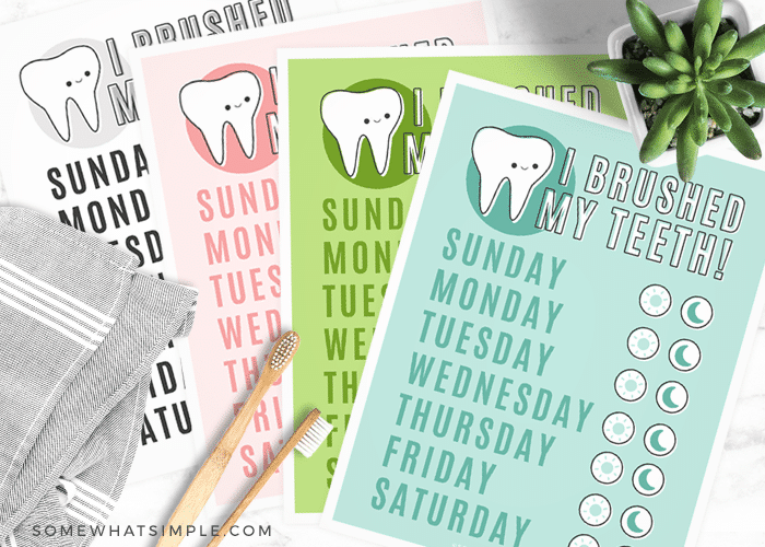 photo relating to Printable Tooth Brushing Charts named Teeth Brushing Chart for Young children (Free of charge Printable) Fairly Very simple