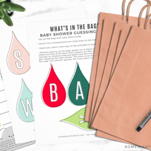 a printable baby shower game entitled what's in the bag with the free printable with each letter in baby shower as well as brown bags with a letter attached to it.