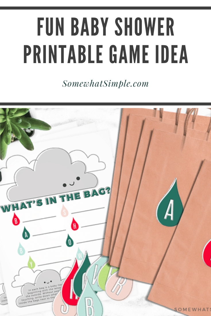 This simple baby shower game idea is fun to play, easy to put together and it's super helpful for the mother-to-be!  Fill bags with baby items that start with each letter and see if the mother-to-be can guess what's inside.  The game is fun to play, while providing needed baby items for the new mother. Download your FREE printable right now and get started! #babyshowergames #printablebabyshowergame #babyshowergameidea #freeprintablebabyshowergame #babyitemsthatstartwith via @somewhatsimple