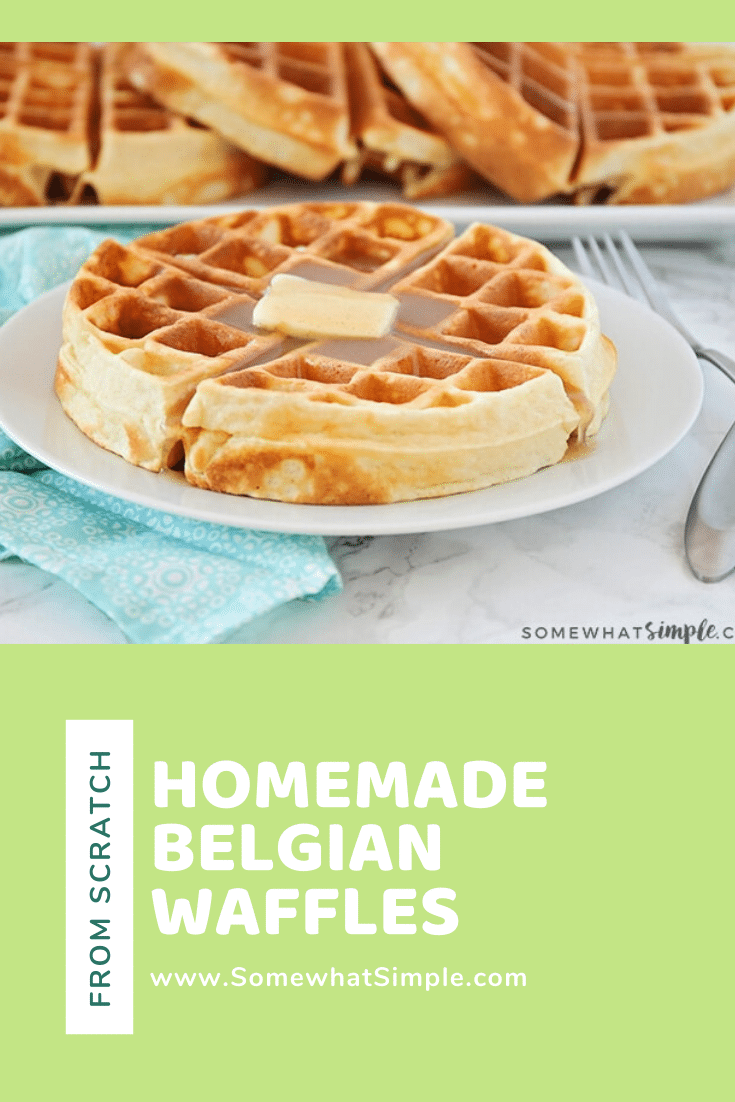 Homemade Belgian waffles are perfectly golden and crispy on the outside but the insides are soft, fluffy and amazingly delicious!  Made from scratch using a few simple ingredients, this waffle recipe is the best you'll find. #belgianwafflerecipe #homemadebelgianwaffles #bestbelgianwaffles #crispybelgianwaffles #easybelgianwafflerecipe via @somewhatsimple