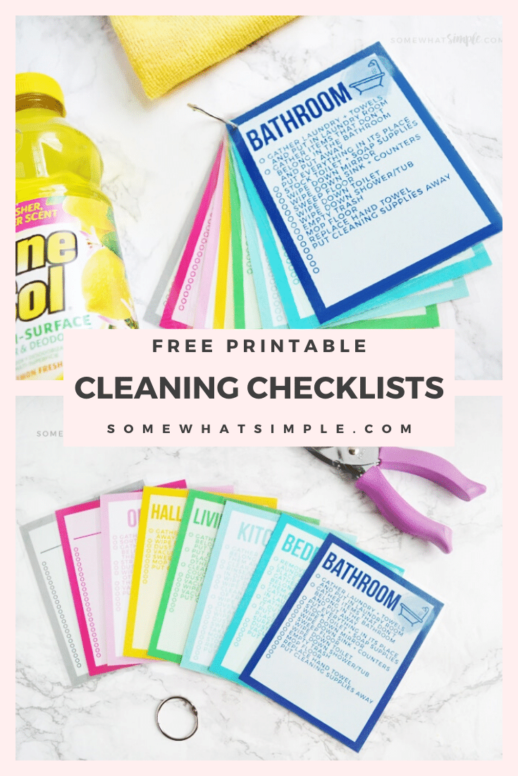 These colorful Printable Cleaning Checklist Cards will help tackle your everyday household chore goals! There's a simple checklist to follow for each room in your house. Plus ideas on how to make a simple cleaning caddy! #cleaning #cleaningtips #cleaninghacks #springcleaning #freeprintable via @somewhatsimple