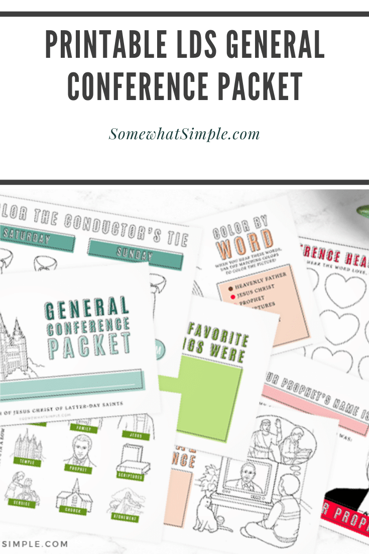 If you're looking for a fun way to keep your kids interested while watching General Conference, this packet is for you!!! Filled with fun games, activities and other ideas, your kids are guaranteed to love conference this year. Don't wait, grab your free printable now! #ldsconf #ldsgeneralconference #generalconferenceactivitypacket #freeprintable #generalconferenceactivitypacketfreeprintable via @somewhatsimple