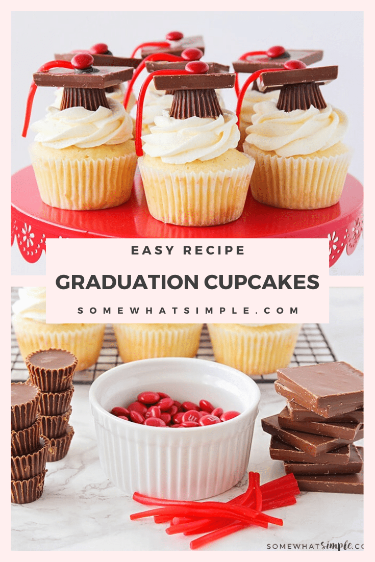 Graduation cupcakes are a fun way to celebrate a loved one's big accomplishment.  Whether you're celebrating an advancement from preschool to Kindergarten or someone earning their college degree, these graduation topper cupcakes will be perfect for your party!   #graduationcupcakes #graduationcupcaketoppers #graduationcupcakeideas #graduationcupcakerecipe #howtomakegraduationcupcakes #graduationdessert via @somewhatsimple