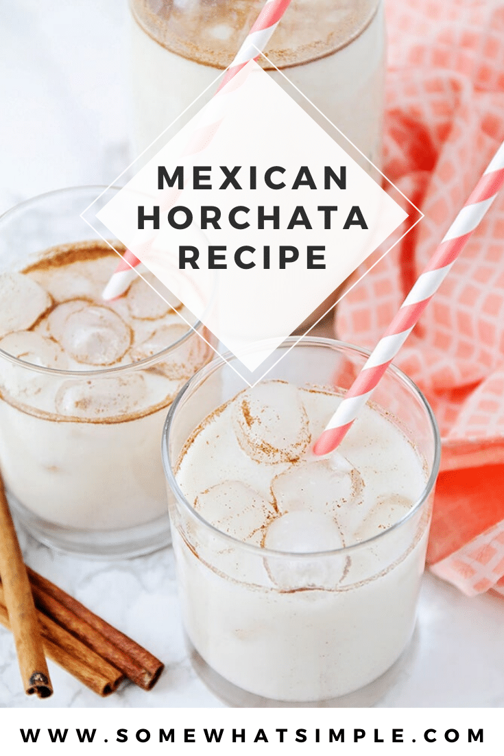 Here is a quick and easy horchata recipe that will show you how to make horchata in no time! Made from the delicious combination of milk, cinnamon and rice, this traditional Mexican drink is both creamy and refreshing. It's perfect for celebrating cinco de mayo or enjoying any day of the year! #easyhorchatarecipe #howtomakehorchata #mexicanhorchatarecipe #authentichorchatarecipe #horchatarecipe via @somewhatsimple