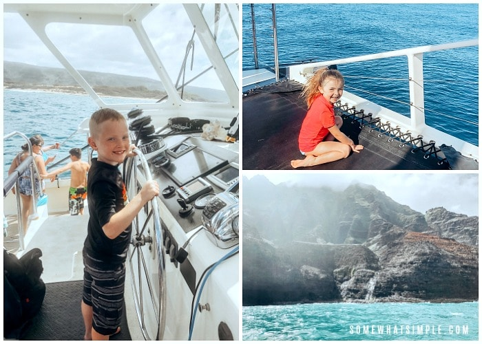 there are three pictures in this image, the first is a young boy behind the wheel of a catamaran, the next is a young girl on the trampoline on the front of a catamaran and the last is a picture of the napali coast
