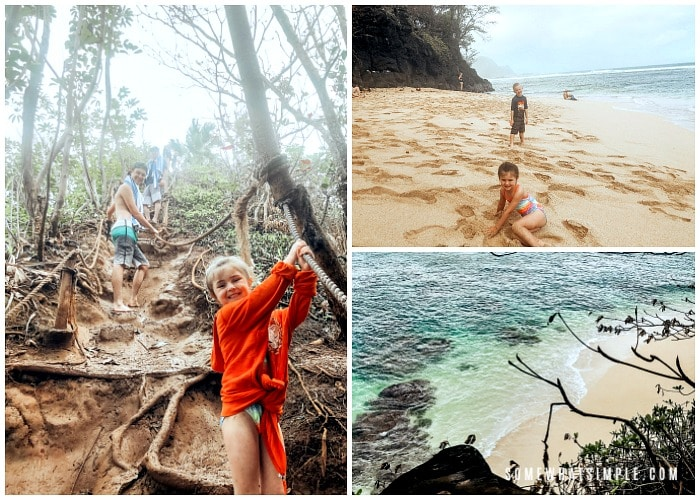 this image has three pictures of Hideaway Beach in Kauai.  The first is of a boy and a little girl walking down the hill holding onto ropes, another is of two children playing on the sand at the Hideaway Beach and the last is looking down onto hideaway beach from the hill behind it.