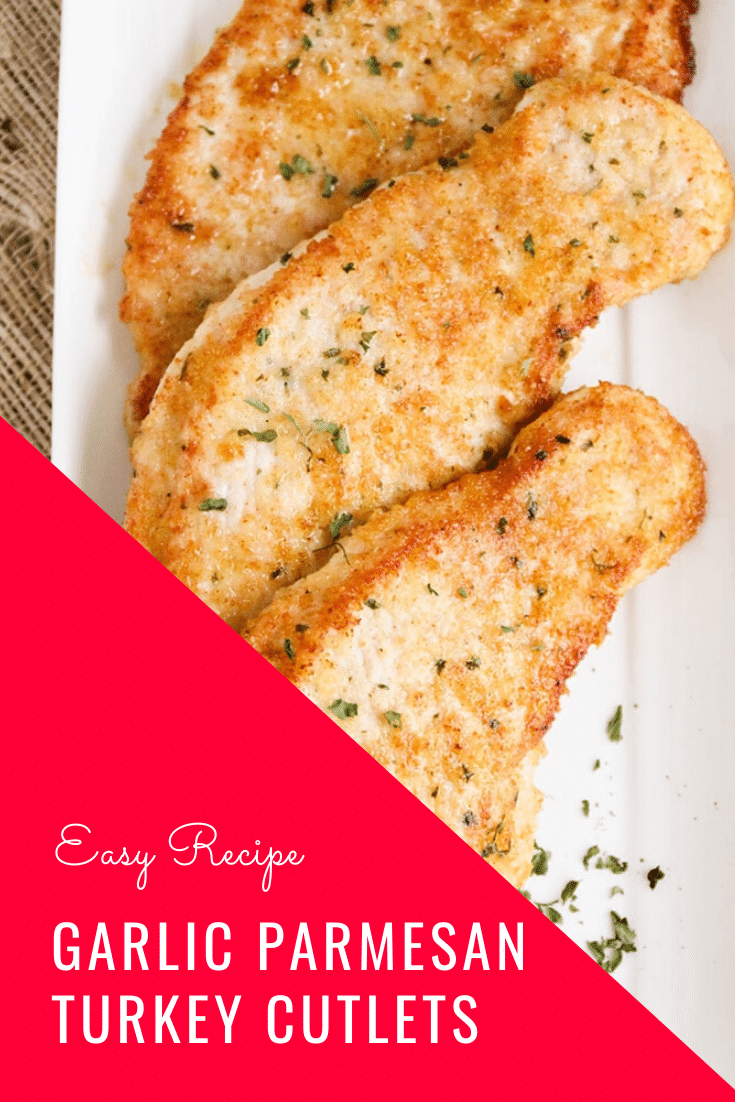 Garlic Parmesan turkey cutlets are healthy and super simple to make! Baked to perfection with a delicious crust, it's the perfect crowd-pleasing meal for a busy night! #turkeycutletsrecipe #turkeycutlets #bakedturkeycutlets #howtocookturkeycutlets #healthyturkeycutletsrecipe via @somewhatsimple