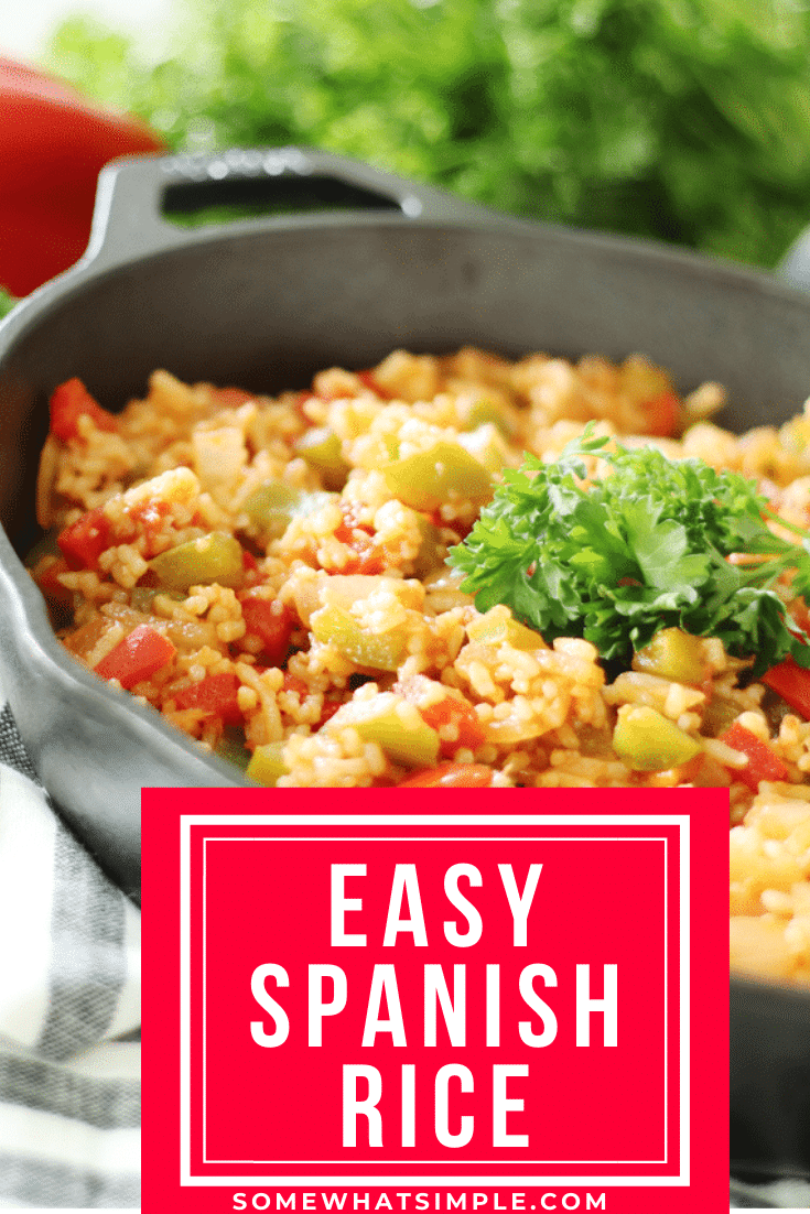 Homemade Spanish rice is the perfect side dish for any of your favorite Mexican food recipes.  Made with bell peppers, onions and delicious spices, this easy recipe is bursting with flavor and tastes just like you get in a restaurant. #spanishrice #homemadespanishrice #howtomakespanishrice #easyspanishrice #mexicanrice via @somewhatsimple