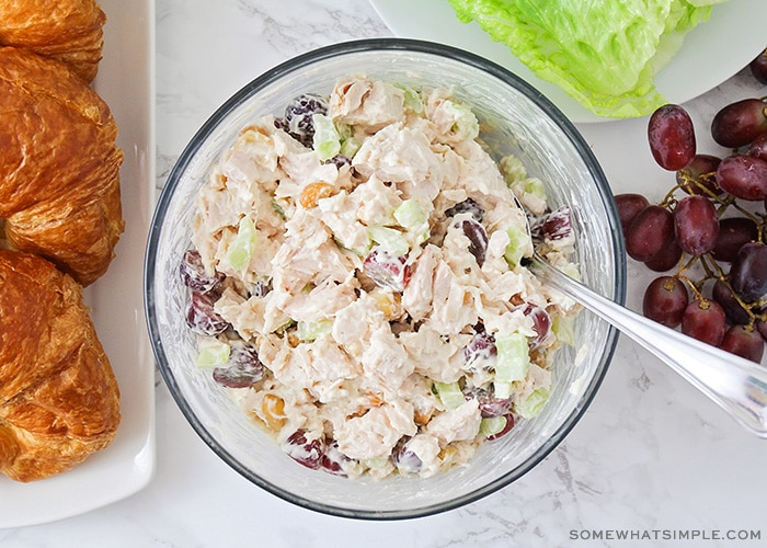 looking down on a bowl filled with a fresh batch of this chicken salad recipe next.