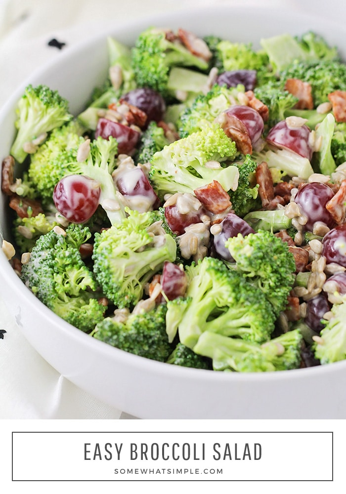 This easy Broccoli Salad is quick, fresh, and so delicious! It makes the perfect side dish for any BBQ or potluck - and the tangy, creamy dressing is heavenly! #broccolisalad #broccolibaconsalad #healthybroccolisalad #broccolibacongrapesalad #broccolisaladdressing via @somewhatsimple