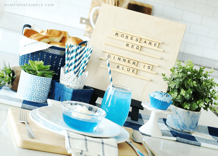 blue foods for a fun family dinner set up on the counter