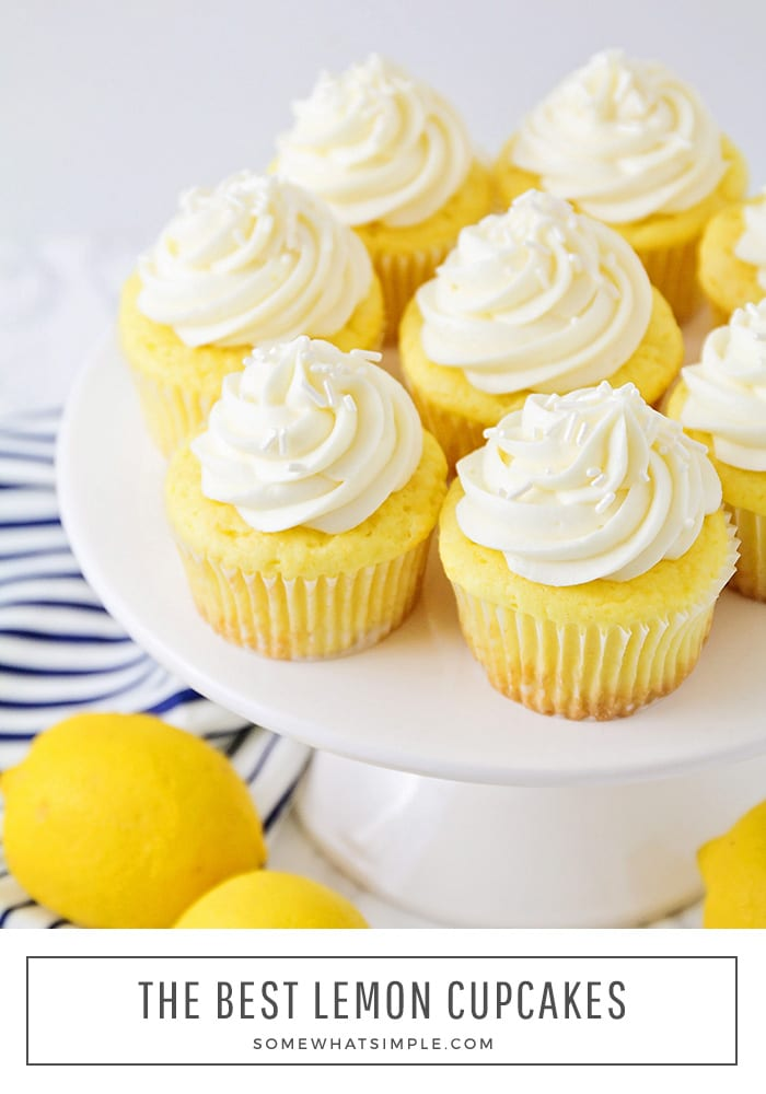 eight lemon cake mix cupcakes with cream cheese frosting on a cake stand.