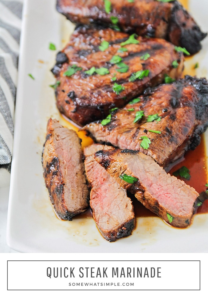 This quick and easy steak marinade is so simple to make and your steaks turn out tender and delicious every time! Made with just five basic ingredients and can be used on any cut of meat, it's the perfect marinade for summer grilling! #steakmarinaderecipe #easysteakmarinade #quicksteakmarinaderecipe #beststeakmarinade #howtomakesteakmarinade via @somewhatsimple