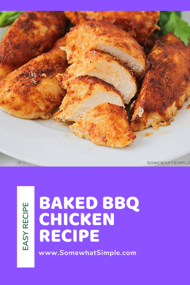 Enjoy the taste of baked BBQ chicken all year long. Using a handful of a few simple ingredients these barbecue chicken breasts are so easy to make and are perfect for a busy weeknight! #bakedbbqchicken #barbecuechickenrecipe #bakedbonelessbbqchicken #howtobakebbqchicken #howtogrillbbqchicken via @somewhatsimple