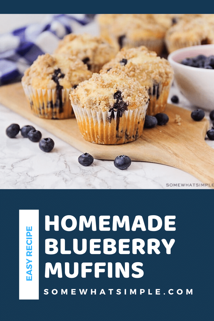The is the best blueberry muffins recipe ever! Made with fresh blueberries and a crumb topping, these homemade muffins are so soft and sweet you'll think you just picked them up from the bakery. #blueberrymuffins #blueberrymuffinrecipe #easyblueberrymuffins #blueberrymuffinscrumbletopping #bestblueberrymuffinrecipe via @somewhatsimple