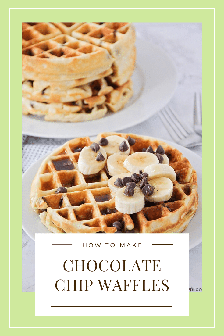 These fluffy and crisp chocolate chip waffles are the perfect sweet treat to make breakfast extra special! Made from scratch, these homemade waffles are simple to make and so delicious! #chocolatechipwaffles #chocolatechipbelgianwaffles #easychocolatechipwaffles #chocolatechipwafflerecipe #fluffychocolatechipwaffles via @somewhatsimple