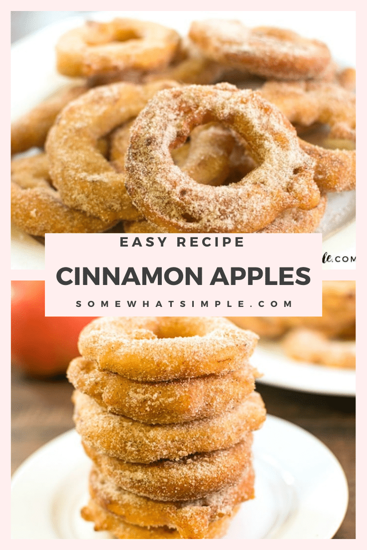 These cinnamon sugar fried apple rings area delicious fall treat! They are simple to make and your family will love them. They take only minutes to prepare and even less time to eat! This fried apple recipe is so good, you'll want to make them every day! via @somewhatsimple