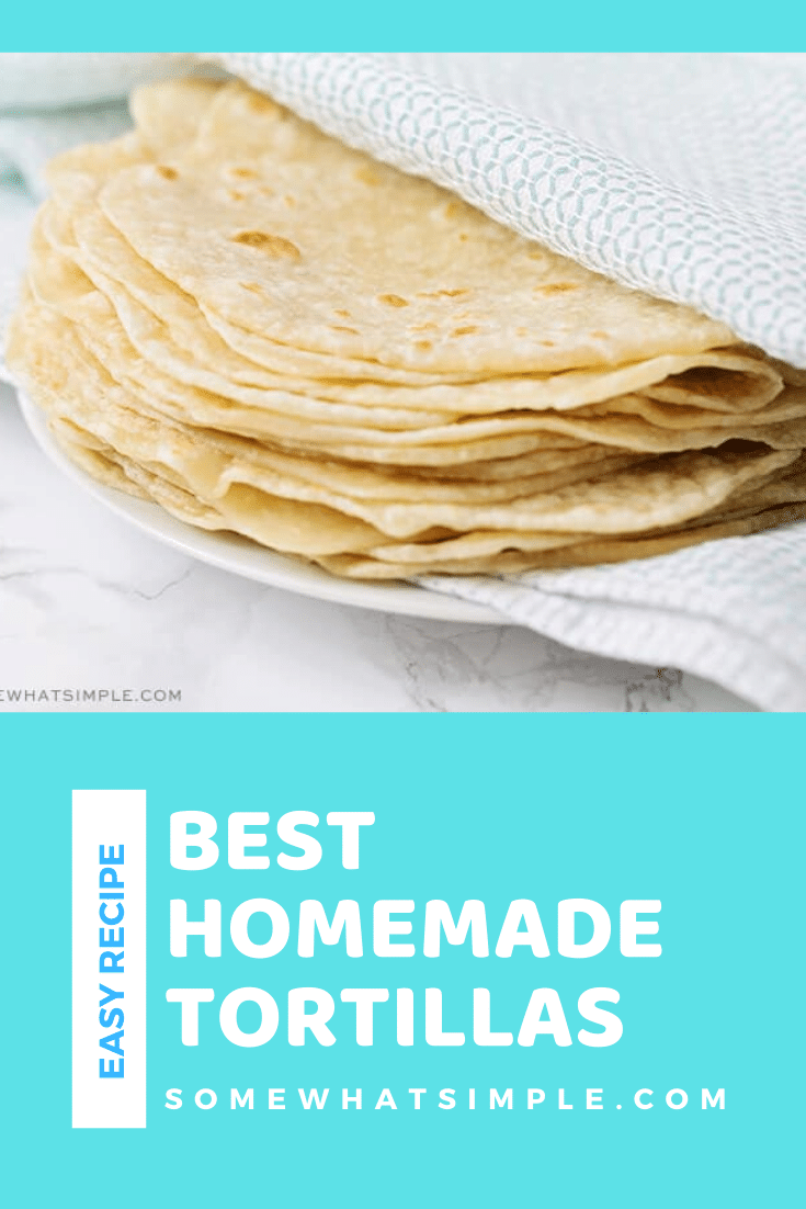 These homemade flour tortillas soft, delicious and incredibly easy to make! I love them because they can be used in so many of my favorite Mexican food recipes to add a little extra homemade touch. #howtomakeflourtortillas #homemadeflourtortillas #flourtortillasrecipe #howtomakehomemadetortillas #easyhomemadetortillas via @somewhatsimple