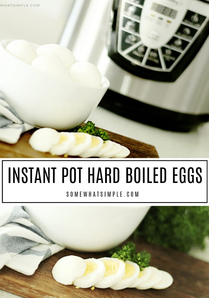 Have you ever wanted to learn how to make hard boiled eggs in a pressure cooker but were too afraid to try?  These instant pot hard boiled eggs are easily made in 10 minutes and they come out perfectly every time! #hardboiledeggs #instantpothardboiledeggs #hardboiledeggsintheinstantpot #howtohardboilanegginaninstantpot #pressurecookerhardboiledeggs via @somewhatsimple