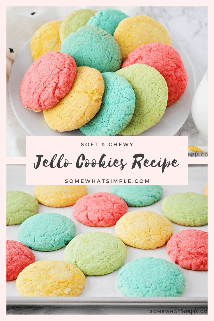 These bright and colorful Jello cookies are such a fun way to get the kids involved in the kitchen, and they're easy to make too!  Using Jello mix and a few simple ingredients you probably already have in your kitchen, these cookies will be ready in no time. #easyjellocookies #colorfulcookierecipe #jellocookies #jellocookiesrecipe #howtomakejellocookies via @somewhatsimple