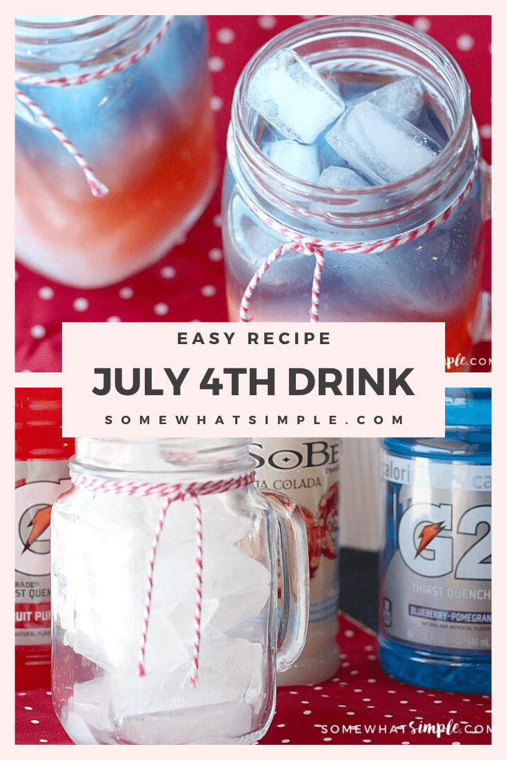 These 4th of July drinks are a fun and festive beverage to serve at your party or barbecue.  With red, white and blue layers this drink is a patriotic way to enjoy the Fourth! #redwhitebluedrink #4thofjulydrink #fourthofjulydrinkrecipe #fourthofjulydrinkforkids #redwhitebluedrinknonalcoholic #patrioticdrinkidea via @somewhatsimple
