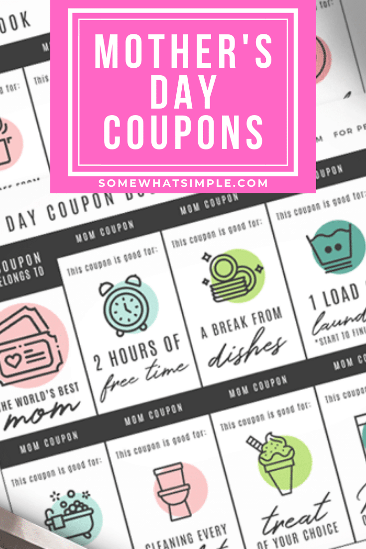 These fun Mother's Day Coupons are cute, thoughtful, and easy enough to be ready in just a few minutes! Grab your free printable show that special mom in your life how much you love them. #MothersDayCoupons #MothersDayGift #PrintableCoupons #MothersDayPrintable #mothersdayprintable via @somewhatsimple